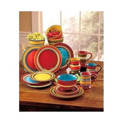 16 Piece Striped Dinner Ware Collection