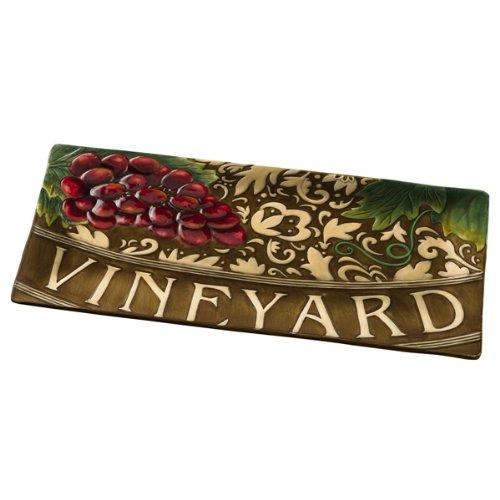 Grasslands Road in Vino Veritas Ceramic Serving Tray 15 by 7-Inch
