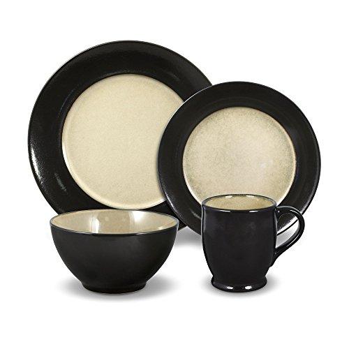 Gourmet Basics Belmont Round Black 48 Piece Dinnerware Set Service for 12