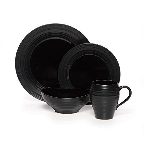 Mikasa Swirl Black 20 Piece Dinnerware Set Service for 4