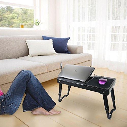 DG SPORTS DG-DESK-BLACK-01 Adjustable Laptop Table Portable Bed Tray Black
