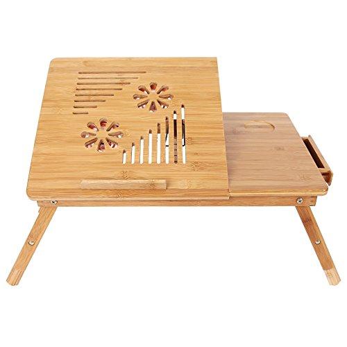 SONGMICS Bamboo Adjustable Laptop Desk USB Fan Breakfast Serving Bed Tray Tilting Top Drawer ULLD003