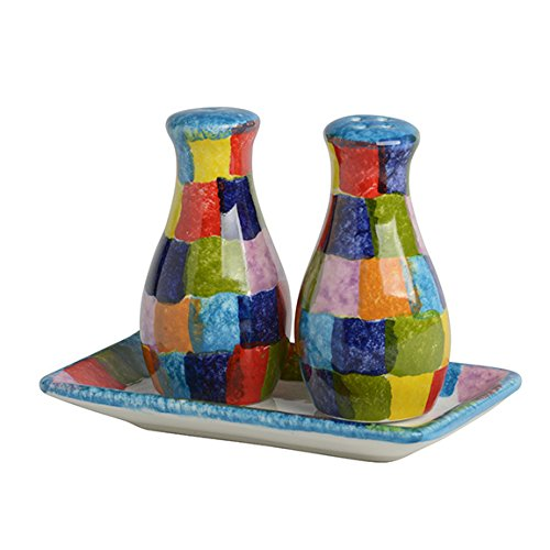 Italian Dinnerware - Check Salt and Pepper Shakers - Handmade in Italy from our POP Collection