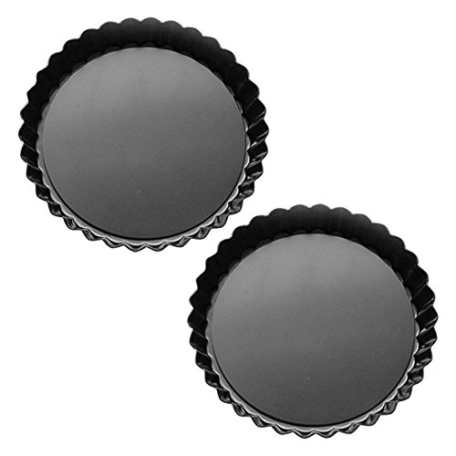 Tosnail 2 Pack 9 Inch Non-Stick Quiche Pan Tart Pan with Removable Loose Bottom