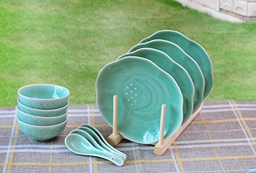 Ceramic Story Celadon Porcelain Lotus Pattern 12-Piece Dinnerware Set--Service for 4 Plum Green
