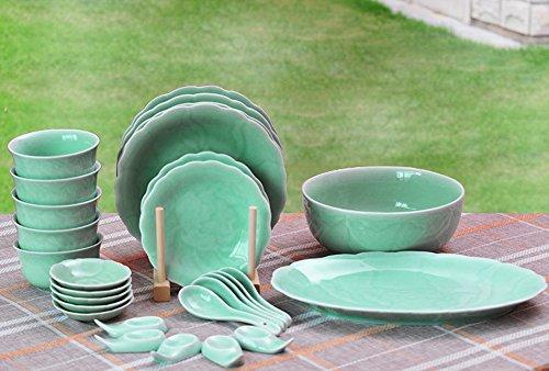 Ceramic Story Livingware Celadon Porcelain Peony Pattern 28-Piece Dinnerware Set Service for 5 Plum Green