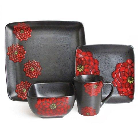 Jay Import 5892-16 Asiana Red Green Dinnerware Set Set of 16