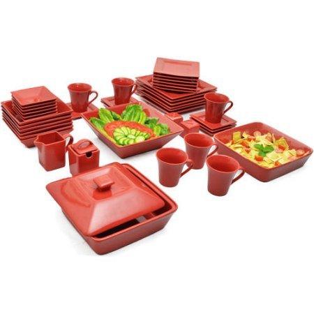 10 Strawberry Street Nova Square Banquet 45-piece Dinnerware Set Red