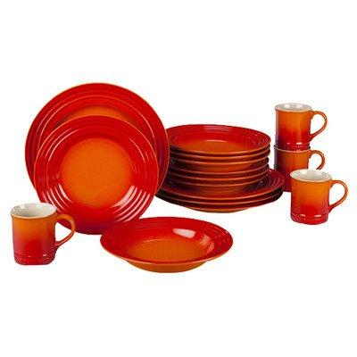 Le Creuset Stoneware 16-Piece Dinnerware Set Flame