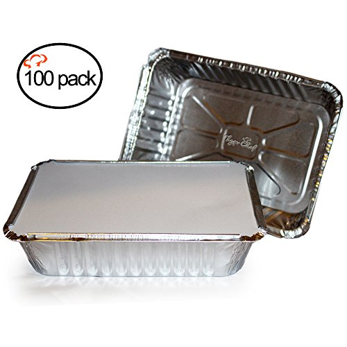 TigerChef TC-20355 Durable Aluminum Oblong Foil Pan Containers with Clear Board Lids 2-14 Pound Capacity 844 x 589 x 18 Size Pack of 100