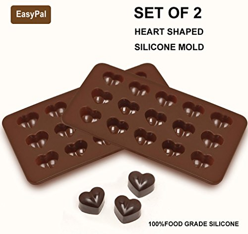 EasyPal 15 Cubes Heart Shaped Silicone Molds for Homemade Chocolate Jelly Candy and MoreSet of 2