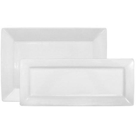 Better Homes and Gardens 2-Piece Rectangular Porcelain Platter Set White by Better Homes Gardens