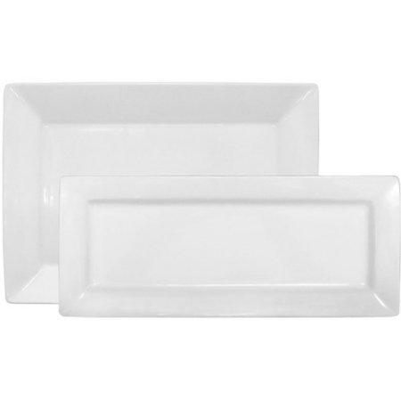 Porcelain Durable Microwave-Safe 2-Piece Rectangular Platter Set White