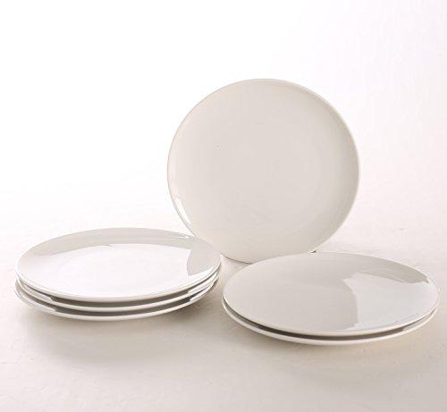 SOLECASA 8-inchSet of 6 White PorcelainCeramic Dinner Serving DishesPlatePlatterSaladPizzaBread Serving Plate