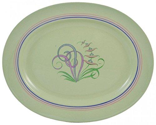 Vintage Retro Serving Porcelain PLATTER Green Spode Elegant Dinner Moondrops Cheese Cake English 1950s LS