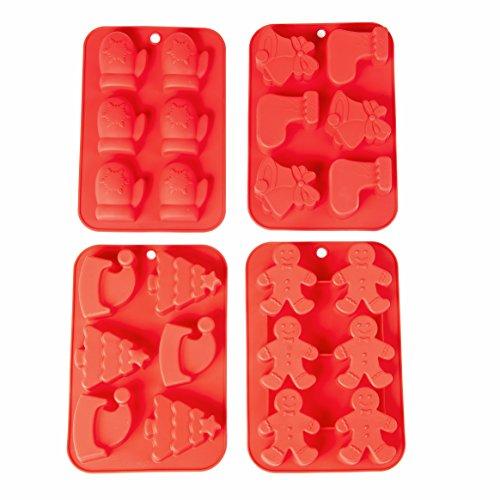 Core Aim Christmas Cake Mold Stocking Gloves Silicone Baking Pan Soap Molds 4 of Set