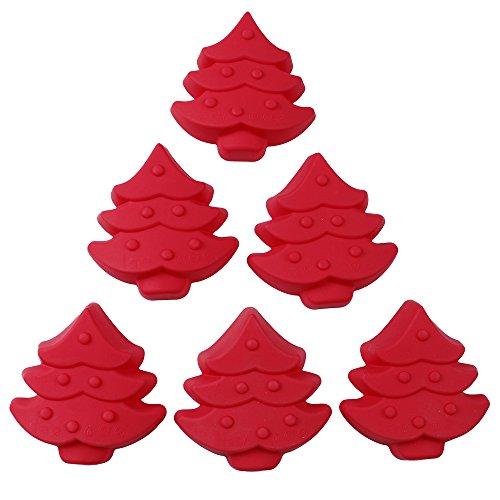 Webake 6 Pack Silicone Cake Mold Christmas Tree Shaped Non-Stick Baking Pan