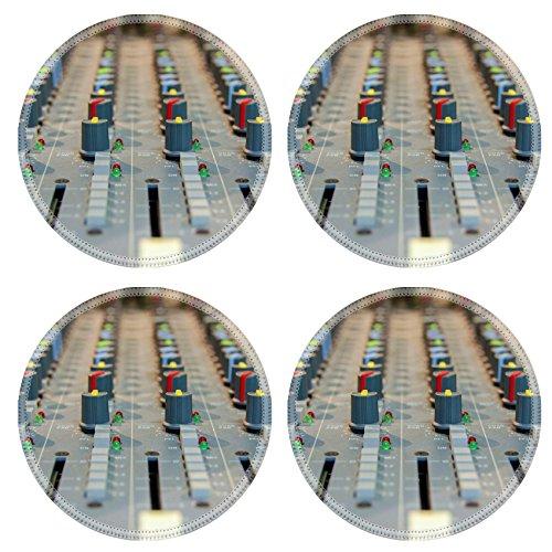 Liili Round Coasters closeup shot of audio mixer in recording studio 28498185