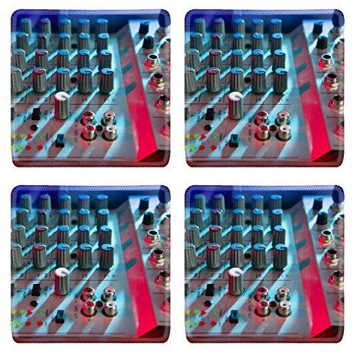 Liili Square Coasters Audio mixer music desk under colorful equipment Photo 5572782