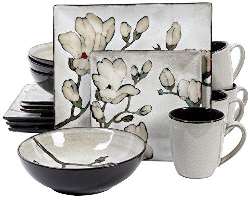 Gibson 16 Piece Claretta Reactive Glaze Floral Dinnerware GrayWhite