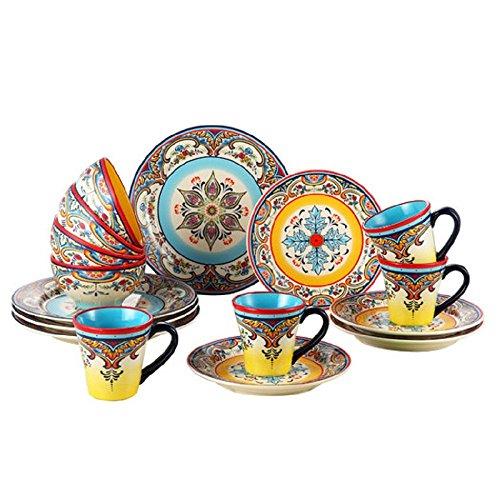 Handpainted Zanzibar 16 Piece Artisan Inspired Floral Dinnerware Set