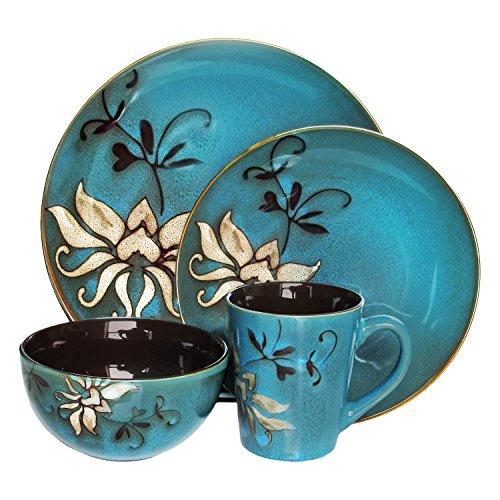 Mirabel 16 Piece Dinnerware Set Floral Dinnerware Blue