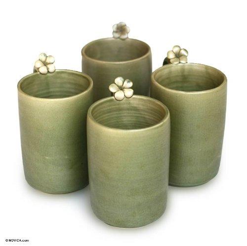 NOVICA Floral Dinnerware Ceramic Mugs Green Frangipani Brew Set of 4
