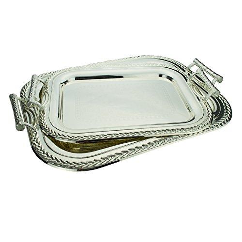 2-Piece Cordoba Rectangle Decorative Serving Tray Set Silver