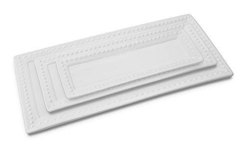 KOVOT Porcelain Rectangular Platter Set of 3 White