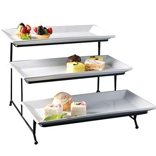 Porcelain 3 Tier Serving Tray - Rectangular Serving Platter - Appetizer Dessert Stand Rack