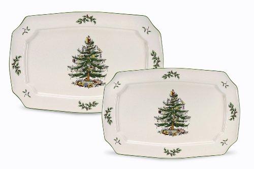 Spode Christmas Tree Rectangular Platters Set of 2