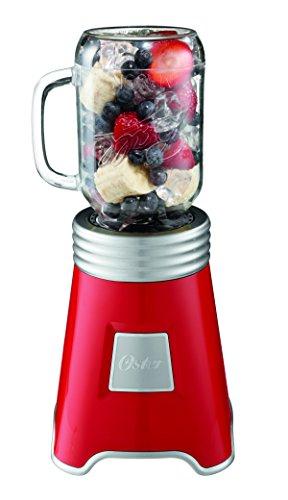 Oster Blend N Go Mason Jar Blender with 2 20 oz BPA-free Plastic Jars Red