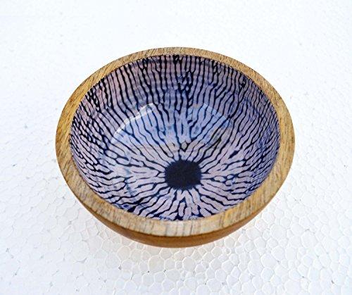 Wooden bowl Shibori print Tie dye pattern Indigo bowl Resin finish Lacquer No glass Serving bowl 5 inch diameter