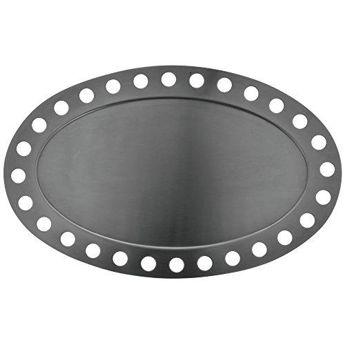 Oval Stainless Steel Platter Futuristic Display 17L x 10 34Dia