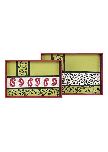 Designer Handpainted Breakfast Serving Tray Set Kitchen Dining Platter Paisley Magic  Set of 2