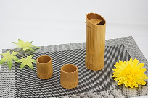 Japanese Soot-colored Bamboo Sake Set 6.1fl Oz (180ml) Bottle And Two Cups