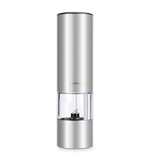 SimpleTaste Electric Pepper Grinder Pepper Mill Spices Grinder Salt Grinder with Adjustable Ceramic Rotor Simple Touch Operation