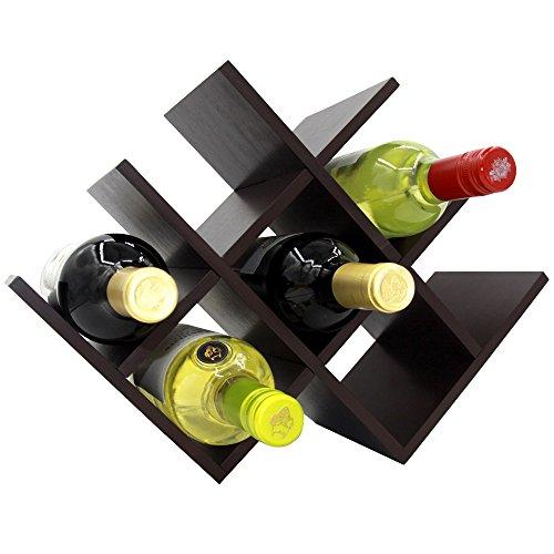 Autree Espresso Bamboo Wine Rack 8-bottles Countertop