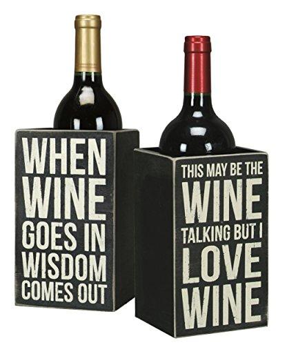Primitives By Kathy Single Wine Bottle Holder - Whimsical Wine Box Sign