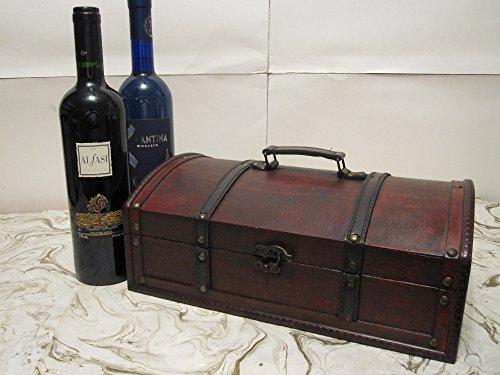 Treasure Chest Wood Wine Box Holder for 2 Bottles