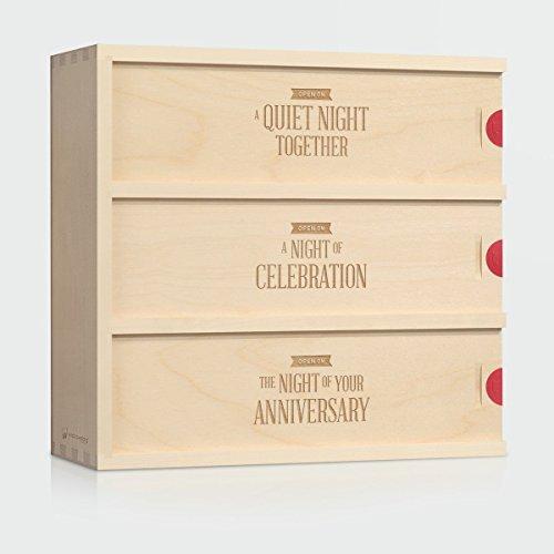 Wedding Wine Box - Three Nights  Unique Wedding Gift for the Couple - Patented WineforaWeddingAnniversary Wine Box - 3-Bottle Wine Box