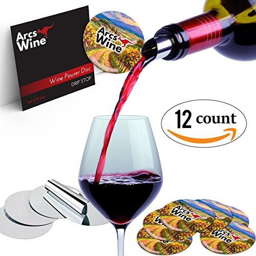 Wine Pourer Disc Set of 12 Drip Stop Pour Spouts Disks