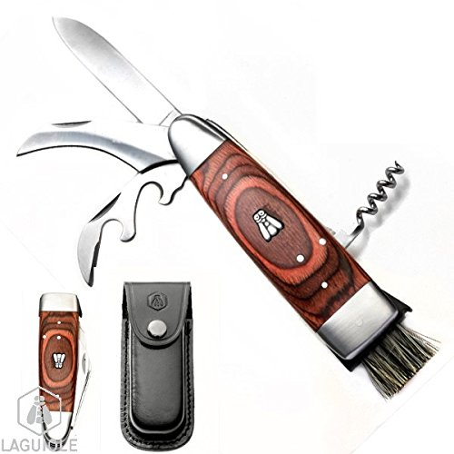 LAGUIOLE mushroom knife with black leather case Multifunction knife with with 2 blades long and short for mushrooms solid corkscrew wine opener foil cutter and small brush Cardboard giftbox L 20cm open12cm closed Stainless steel belt clip loop