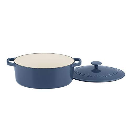 Cuisinart CI755-30BG Cast Iron Casserole 55 Qt Oval Covered Enameled Provencial Blue