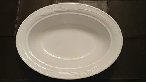 Vintage Corning Ware Casual Elegance WHITE FLORA pattern Large 14 inch Oval Casserole Baking Serving Dish L-32  L 32  Holds 225 Quart EMBOSSED FLORAL FLOWER PATTERN COOK SERVE WARE