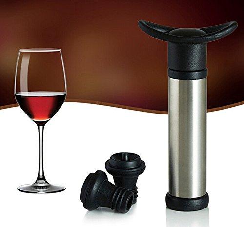 Vacuum Wine Saver Pump Preserver with 2 Vacuum Wine Stoppers Keep Wine Fresh and Flavorful Black Stainless Steel Pump