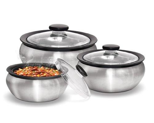 Milton 60015002000ml 3-Piece Thermo Hot-Pot Insulated Casserole Gift Set Medium Steel