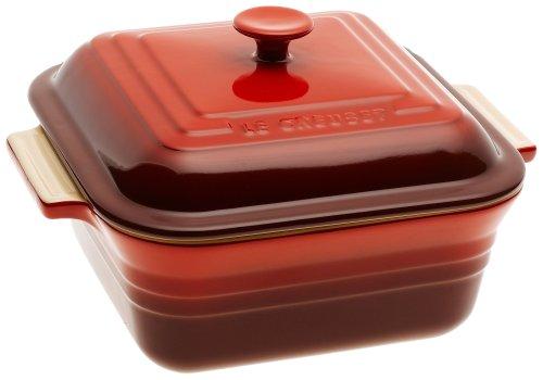 Le Creuset Stoneware 3-Quart Square Casserole with Lid Cherry