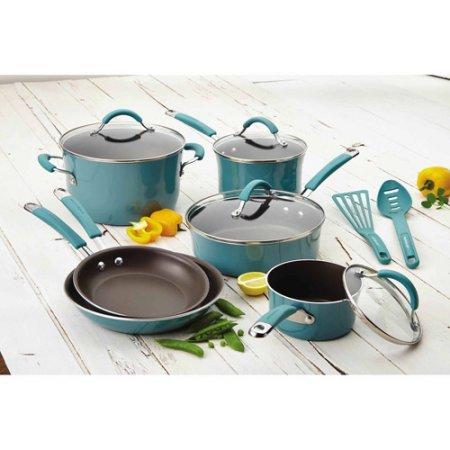 Rachael Rayr Cucina Hard Porcelain Enamel Nonstick Cookware Set 12-Piece Agave Blue