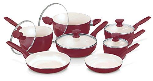 GreenPan Rio 12pc Ceramic Non-Stick Cookware Set Burgundy